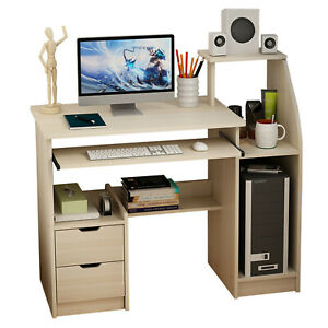 Home Office Computer Desk Wood Writing Workstation Laptop Table W Drawer Shelf