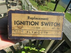 Vintage Original 1932 33 Plymouth Ignition Switch With Instructions Nos Mib