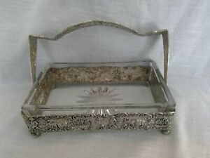 Vtg Holland Ware Mwc Co Ornate Silver Butter Carrier Glass Dish Handle