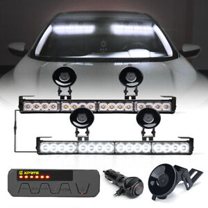 Dual 17 Led Strobe Light Bar Interior Windshield Emergency Hazard Warning White