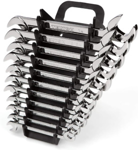 Tekton Angle Head Open End Wrench Set 11 piece 3 8 1 In Holder Wae91102