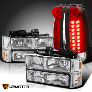 For 94 98 Gmc C10 Sierra Clear Headlights Bumper Corner Lamps Red Led Tail Lamps
