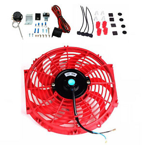 12 slim Push Electric Radiator Cooling Fan 3 8 Auto Relay Wire Thermostat Red