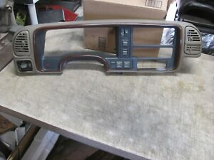 95 99 Chevy Silverado Gmc Woodgrain Dash Cluster Bezel W switches