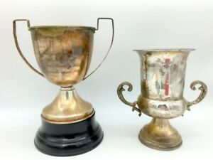 Two Silver Plated Loving Cup Trophies Trophy Vintage Golf Inscription Wood Base