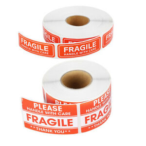 100 200x Fragile Stickers Handle With Care Thank You Warning Label Tag Craft Diy