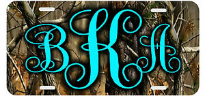 Personalized Monogrammed License Plate Auto Car Tag Camouflage Monogram Aqua