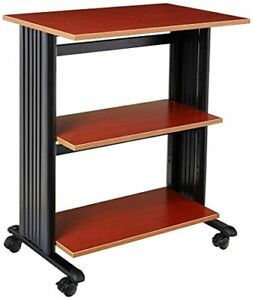 Safco Products Muv Adjustable Printer Stand Cherry Top black Frame Swivel Wh