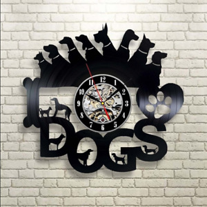 Dxf File Cnc Vector Plasma Router Laser Cut Dogs Wall Clock Gift For Dog Lover
