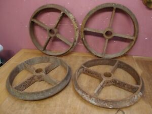 Set Of 4 Antique Cast Iron shepherd s Hut Wheels Architectural Victorian