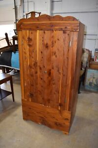 Antique Solid Red Cedar Wardrobe Closet Armoire