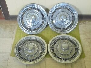 71 72 73 74 75 76 Chevrolet Wire Spoke Hub Caps 15 Set Of 4 Wheel Covers Hubcap
