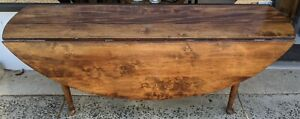 Large Vintage Queen Anne Style Mahogany Dining Drop Leaf Harvest Console Table