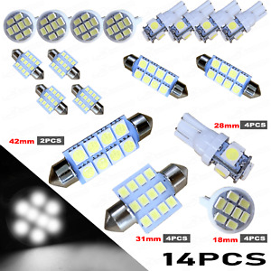 14x Led Lights Interior Package Kit For Dome License Plate Lamp Bulbs Pure White