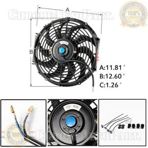 12 Inch Universal Slim Fan Push Pull Electric Radiator Cooling 12v Mount Kit