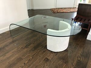 Mid Century Modern Waterfall Curved Coffee Table