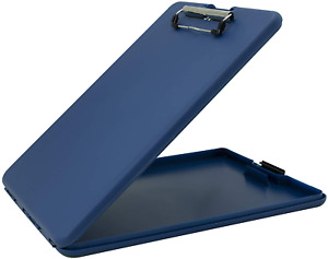 Saunders Blue Depths Slimmate Plastic Storage Clipboard With Low Profile Clip