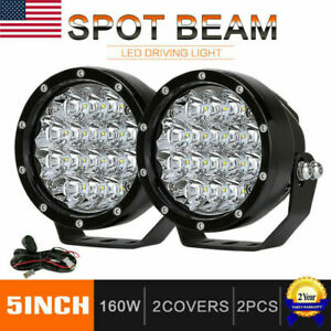 Pair 5inch 160w Cree Round Led Driving Lights Off Road Work Light Spot Lamp Suv