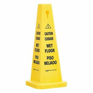 Commercial Floor Safety Cone 25 3 4 Caution Wet Floor Bilingual 2 Pack r5a