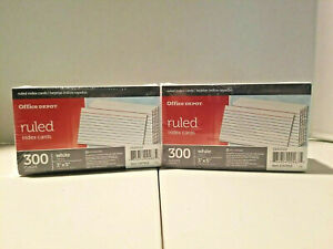 Ruled Index Cards 3 X 5 Office Depot white 600 300 Pack X 2 10022