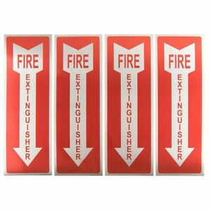 4 pack Fire Extinguisher Signs Stickers Arrow Symbol Aluminum 3 9 X 11 75 Inches