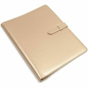 Padfolio Folder With 3 Ring Binder metallic Gold Faux Leather 10 8 X 13 2 In