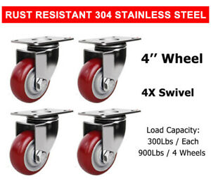 4 Pcs 4 Stainless Steel Swivel Caster Wheel Red Poly Casters Wheels