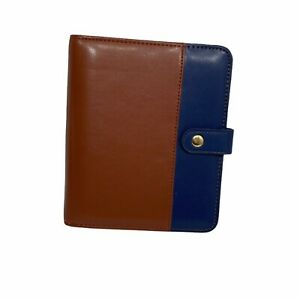Franklin Cover Monarch Letter Day Planner Brown With Blue Simulated Leather