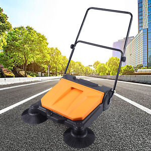 Industrial Floor Sweeper Manual Brush Push On Machine Walk Behind For Large Area