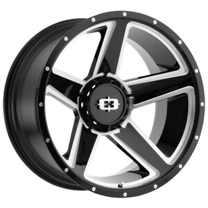 4 Vision 390 Empire 20x115 8x65 44mm Blackmilled Wheels Rims 20 Inch Fits Dodge Ram 3500