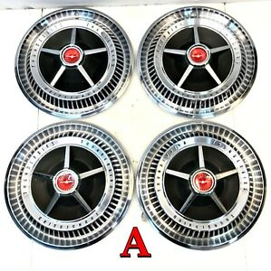 Set Of 4 Oem 15 Ford Thunderbird Hubcaps 1965 1966 T Bird Wheel Covers A