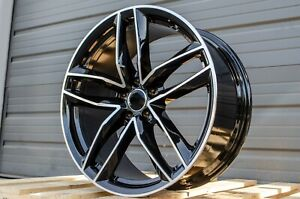 19x8 5 35 5x112 Rs Style Gloss Black Rims Wheels Fits Audi A4 A6 A7 S4 S5 Rs5