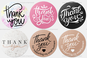 200x Thank You Stickers Order Purchase Business Wedding Round Handmade Labels