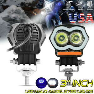3 Inch Halo Cree Led Spot Work Light Bar Pods Fog Driving Off Road Truck 4wd Atv