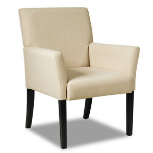 Executive Guest Chair Reception Waiting Room Arm Chair W rubber Wood Legs Beige