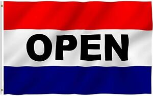 Open Flag Red White Blue Store Banner Advertising Pennant Business Sign 3 x5