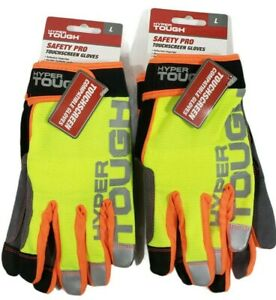 Hyper Tough safety Pro touchscreen Compatible Gloves Large Brand New Lot Of 2