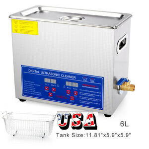 6l Ultrasonic Cleaner Industry Heated Heater W timer Jewelry Glasses Us Stock
