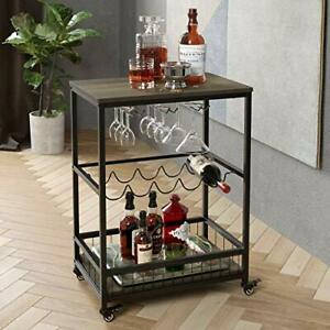 Homecho Bar Carts For Home Mobile Wine Cart On Wheels Wine Rack Table