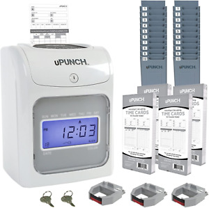 Calculating Upunch Time Clock Bundle With 200 Cards 3 Ribbons 2 Time Card 2