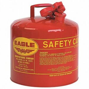 Red Galvanized Steel Type Gasoline Safety Gas Can 5 Gallon Capacity New