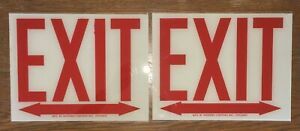 Pair Glass Exit Signs Double Arrow 8 X 10 Western Lighting Inc Chicago
