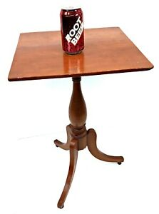 Antique Cherry Pedestal Table Dovetailed Legs Turned Feet Candle Bible Stand