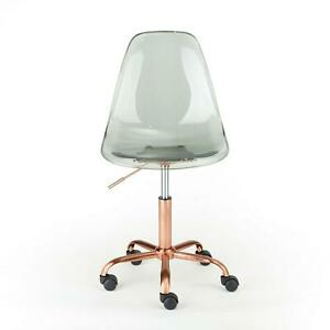 Office Chair Acrylic Black With Gold Base Wheeled 225 Lbs Adjustable Height