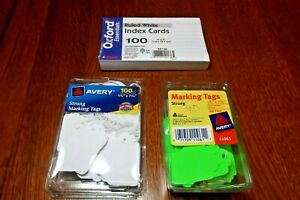 Lot Of 3 Office Items Oxford Pk 100 Ruled 3 x5 Index Cards 180 Strung Marking