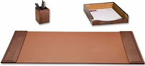Dacasso Brown Crocodile Embossed Leather Desk Set 3 pieces New