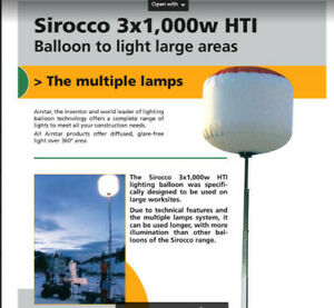 New Sirocco Balloon 3x1000w Mh For Light Towers Original Airstar America