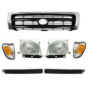 Front Grille Chrome Headlight Filler For 1998 00 Tacoma 2wd Prerunner 4wd