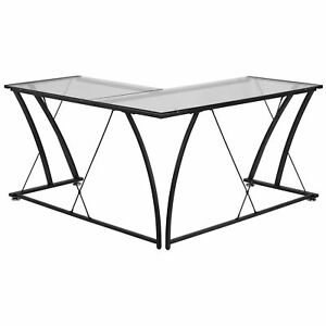 L shape Computer Desk With Tempered Glass Top And Metal Clear 79 w X 56 d X 29 7