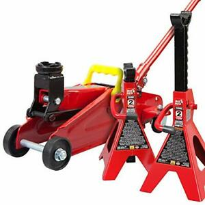 Big Red Torin Hydraulic Trolley Floor Jack Combo With 2 Jack Stands 2 Ton Cap